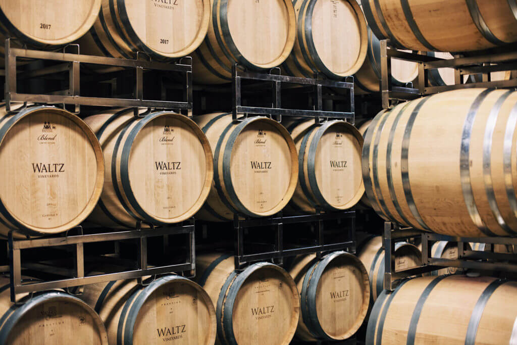 Explore our french oak barrel room